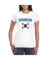 T shirt met zuid koreaanse vlag wit dames