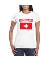 T shirt met zwitserse vlag wit dames