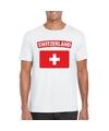 T shirt met zwitserse vlag wit heren