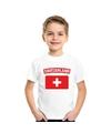 T shirt met zwitserse vlag wit kinderen