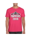 T shirt roze toppers 2018 met witte letters heren