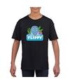 T shirt zwart voor kinderen met flippy de dolfijn