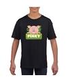 T shirt zwart voor kinderen met pinky de big
