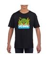 T shirt zwart voor kinderen met plons de kikker