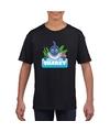 T shirt zwart voor kinderen met sharky de haai