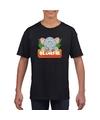 T shirt zwart voor kinderen met slurfie de olifant