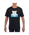 T shirt zwart voor kinderen met teddy cool de ijsbeer