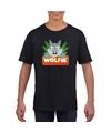 T shirt zwart voor kinderen met wolfie de wolf
