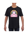 T shirt zwart voor meisjes met miss magic de eenhoorn
