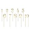 Taart topper gouden cijfers 1 10