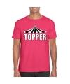 Toppers t shirt roze topper met witte letters heren