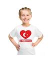 Turkije hart vlag t shirt wit jongens en meisjes