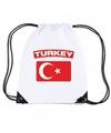 Turkije nylon rugzak wit met turkse vlag