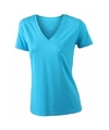 Turquoise dames stretch t shirt met v hals