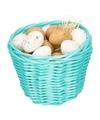 Turquoise paasmandje met plastic kwartel eieren 14cm