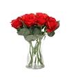 Vaas met 8 rode rozen 30 cm