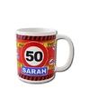 Verjaardag 50 jaar sarah mok beker 250 ml