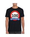 Verkeersbord 100 jaar t shirt zwart volwassenen