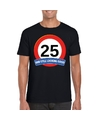 Verkeersbord 25 jaar t shirt zwart volwassenen