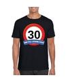 Verkeersbord 30 jaar t shirt zwart volwassenen