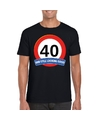 Verkeersbord 40 jaar t shirt zwart volwassenen