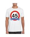 Verkeersbord 45 jaar t shirt wit volwassenen