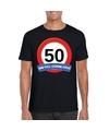Verkeersbord 50 jaar t shirt zwart volwassenen
