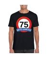 Verkeersbord 75 jaar t shirt zwart volwassenen