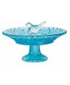 Vogel voederschaal van glas blauw 20 cm