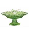 Vogelbad van glas groen 20 cm