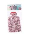 Water kruik met fleece hoes luipaard print roze 2 liter