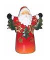 Waxinelichthouder kerstman met slinger 13 cm