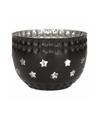 Waxinelichthouder met sterren zwart
