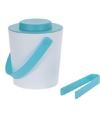 Wit blauwe dubbelwandige ijsemmer met tang