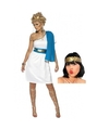 Wit met blauw romeins jurkje inclusief lauwerkrans maat l