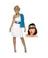 Wit met blauw romeins jurkje inclusief lauwerkrans maat s