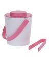 Wit roze dubbelwandige ijsemmer met tang