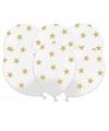 Witte ballonnen met gouden sterren 6 stuks