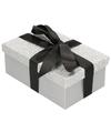 Zilver glitter cadeaudoosje 17 cm rechthoekig