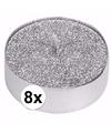 Zilveren glitter theelichtjes 8 stuks
