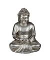 Zilveren zittende boeddha beeld 25 cm