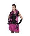 Zwart roze veren boa 180 cm