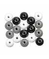 Zwart wit zilver gekleurde houten kralen 6 mm