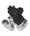 Zwarte handschoenen met bont voor dames