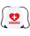 Zwitserland hart vlag nylon rugzak wit