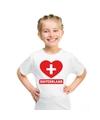 Zwitserland hart vlag t shirt wit jongens en meisjes
